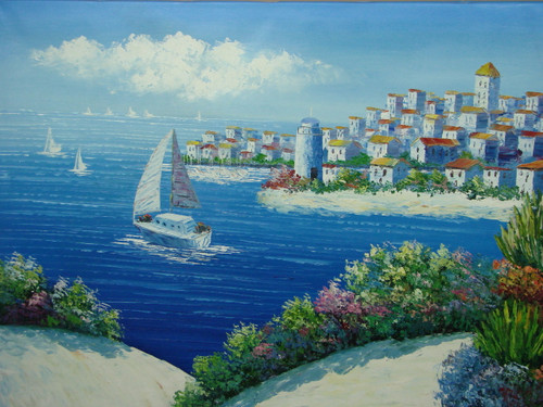Beautiful, large painting, stretched but without frame, by Damini.  A large sailboat sails in the bright blue waters surrounding hillsides of white villas with flowering shrubs on the shoreline.