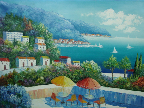 Beautiful, large painting, stretched but without frame, by Damini.  Tables with umbrellas sit on a veranda overlooking villas and deep blue waters below.
