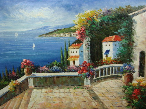 Beautiful painting, stretched but without frame, by Damini.  A wide stone staircase connects a hillside of villas down to the blue sea.