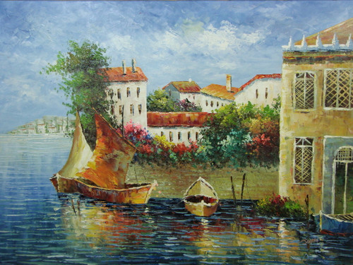Beautiful, large painting, stretched but without frame, by Jaster.  Golden, brown boats are docked in steel blue water near a town of white villas and colorful shrubs.