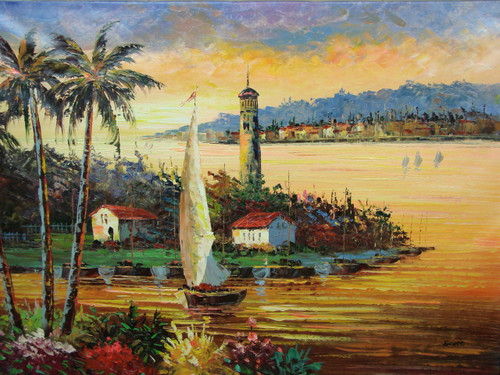 Beautiful, large painting, stretched but without frame, by Scott.  A large sailboats comes in to dock, while the sea reflects the setting, golden sun.