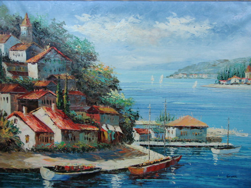 Beautiful, large painting, stretched but without frame, by Scott.  Large boats are docked in blue water near a village of white villas and a church.