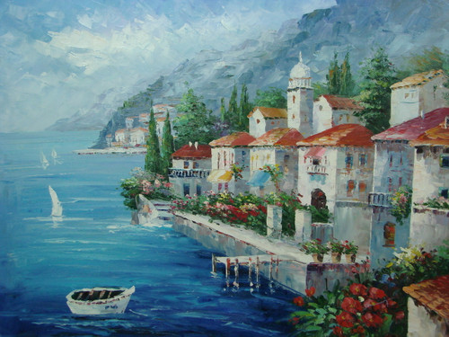 Beautiful, large painting, stretched but without frame, by Damini.  Blue sea waters meet a stone break-wall with white villas and flowering green shrubs behind the wall.