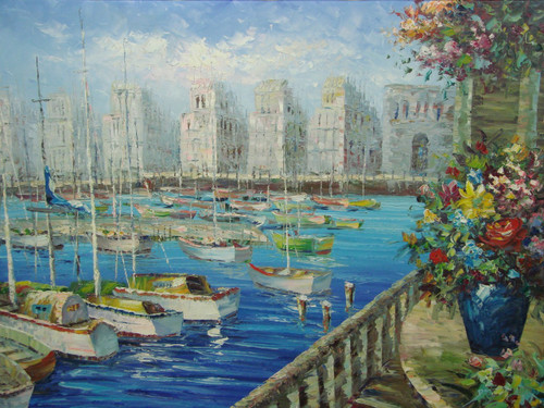 Beautiful, large painting, stretched but without frame, by Damini.  Sailboats fill a marina surrounded by tall beige buildings and colorful flowers.