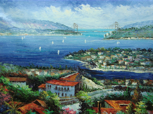 Beautiful large painting, stretched but without frame, by Scott.  A birds-eye view reflects small Mediterranean towns surrounded by bright blue water with sailboats and a bridge in the background.