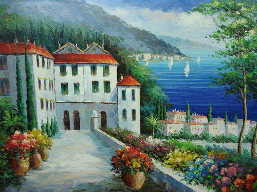 Beautiful painting, stretched but without frame, by Scott.  A wide stone path lined with blue, yellow and red flowers, leads to tall white villas with green shutters with a dark blue sea in the background.