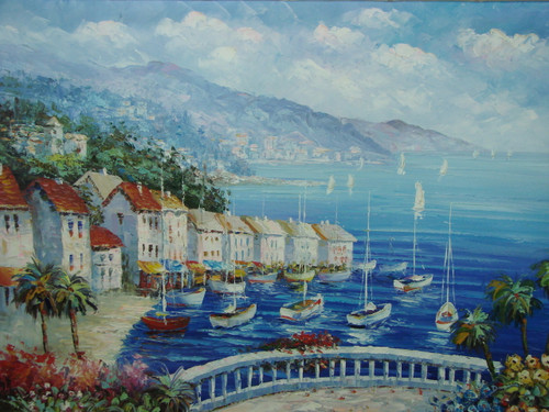 Beautiful, large painting, stretched but without frame, by Damini.  Multiple sailboats have come into port near a town of villas, palm trees and blue and yellow flowers.
