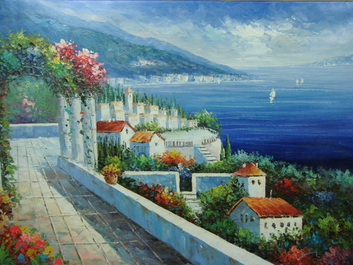 Beautiful, large painting, stretched but without frame, by Damini.  A portico with flowering ivy covered arches overlooks white villas and green trees near the edge of a deep blue colored sea.