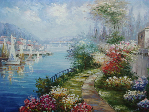 Beautiful painting, stretched but without frame, by Damini.  Pink, yellow and blue flowers grow along a dirt path near the docked sailboats in blue water.
