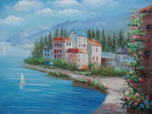Beautiful, medium sized painting, stretched but without frame, by Damini.  Light blue water meets flowers grow along the sandy banks with tall villas and green trees growing in the background.