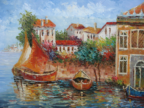 Beautiful, medium sized painting, stretched but without frame, by Jaster.  Golden, brown boats are docked in steel blue water near a town of white villas and colorful shrubs.