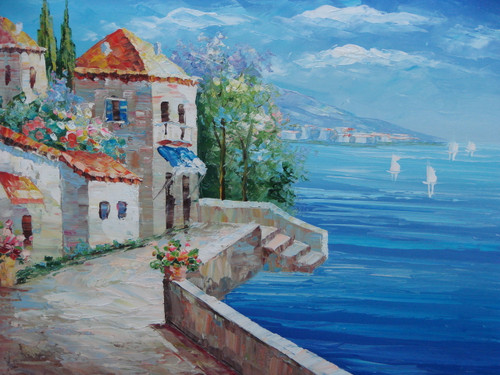 Beautiful painting, stretched but without frame, by Damini.  Villas with orange roofs sit along a path that has stairs leading directly into bright blue water.