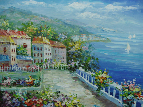 Beautiful, small painting, stretched but without frame, by Damini.  A large courtyard surrounded by shrubs and flowers is shared by a group of white villas overlooking the bright blue sea.