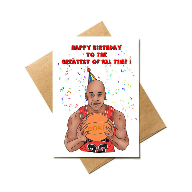 Michael Jordan GOAT Birthday Card with Sticker