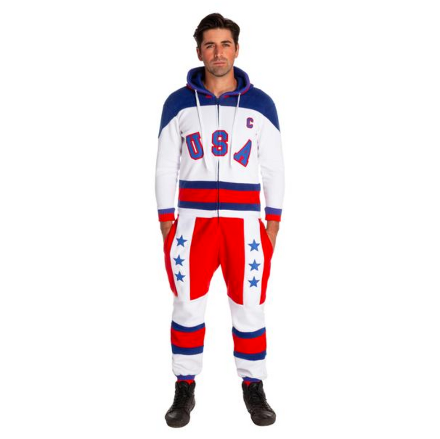 THE MESS-FREE AMERICAN USA ONESIE WITH DUMPER FLAP
