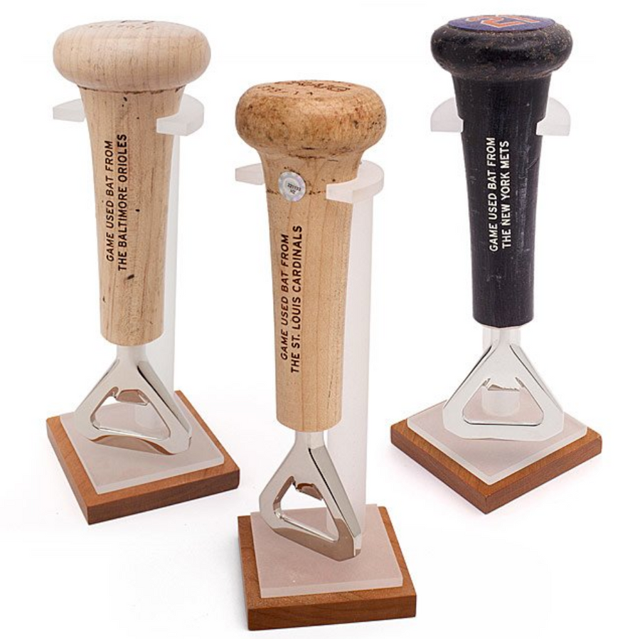 Game-Used Baseball Bat Handle Openers with Stand