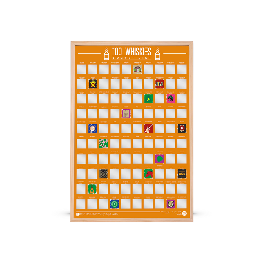 100 Whiskies Scratch Poster