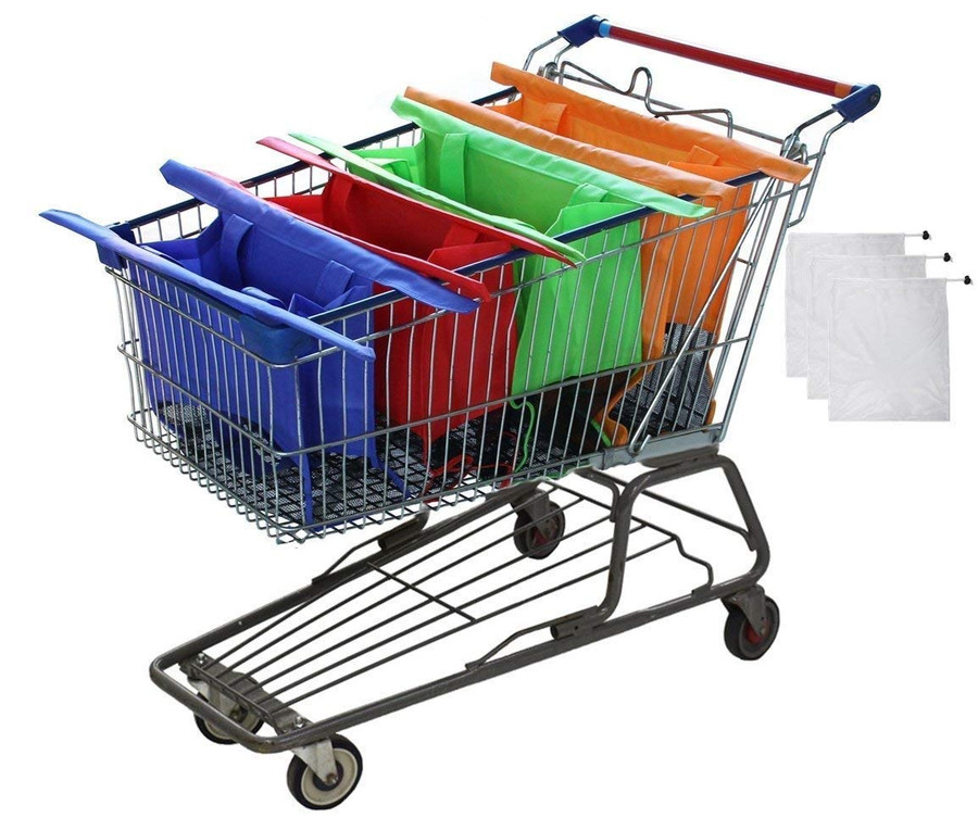 Reusable Shopping Cart Bags and Grocery Organizer