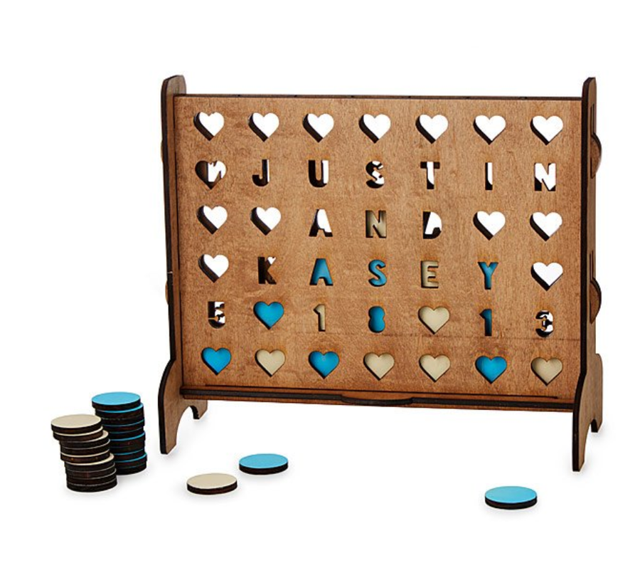Personalized Hearts Four Across Game