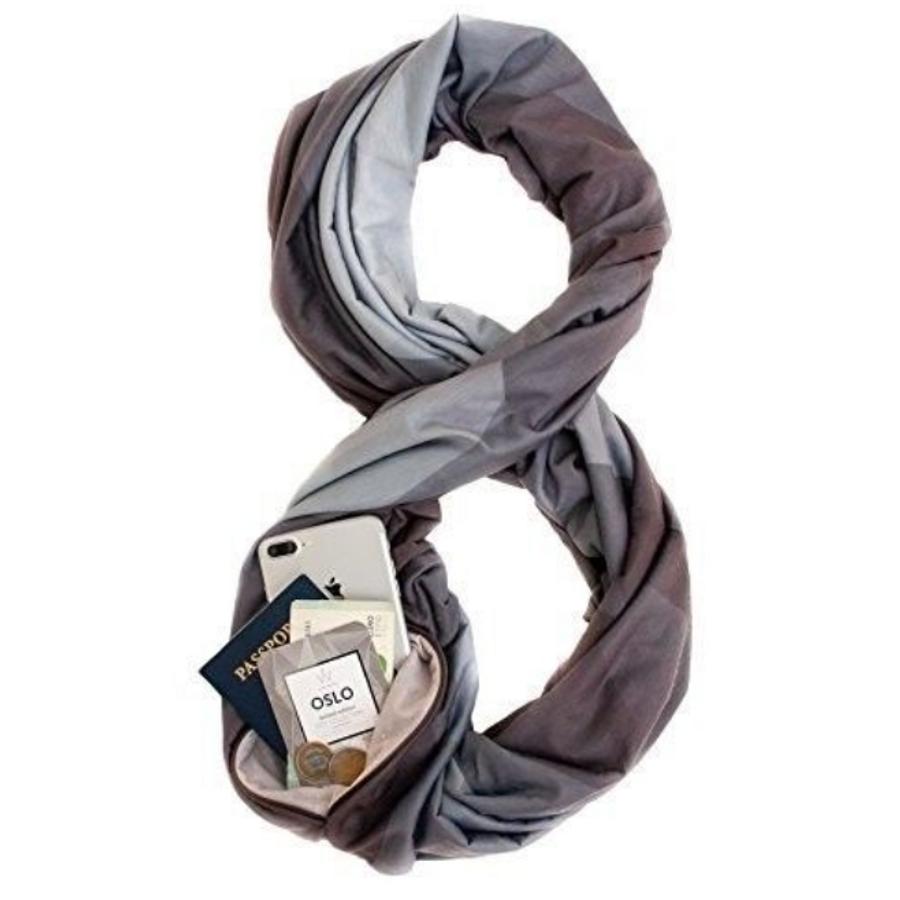 c827ca1dfa54f Infinity Scarf w/Secret Hidden Zipper Pocket - I Give Cool Gifts