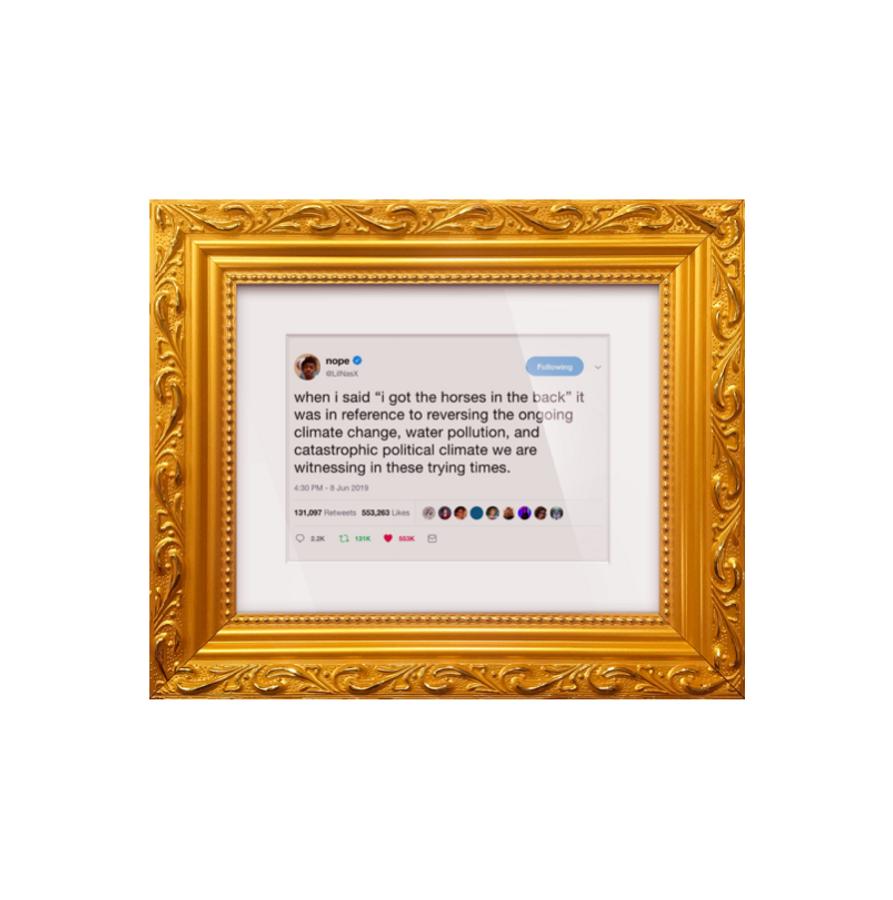 "Lil Nas X ""Horses In The Back"" Framed Tweet"