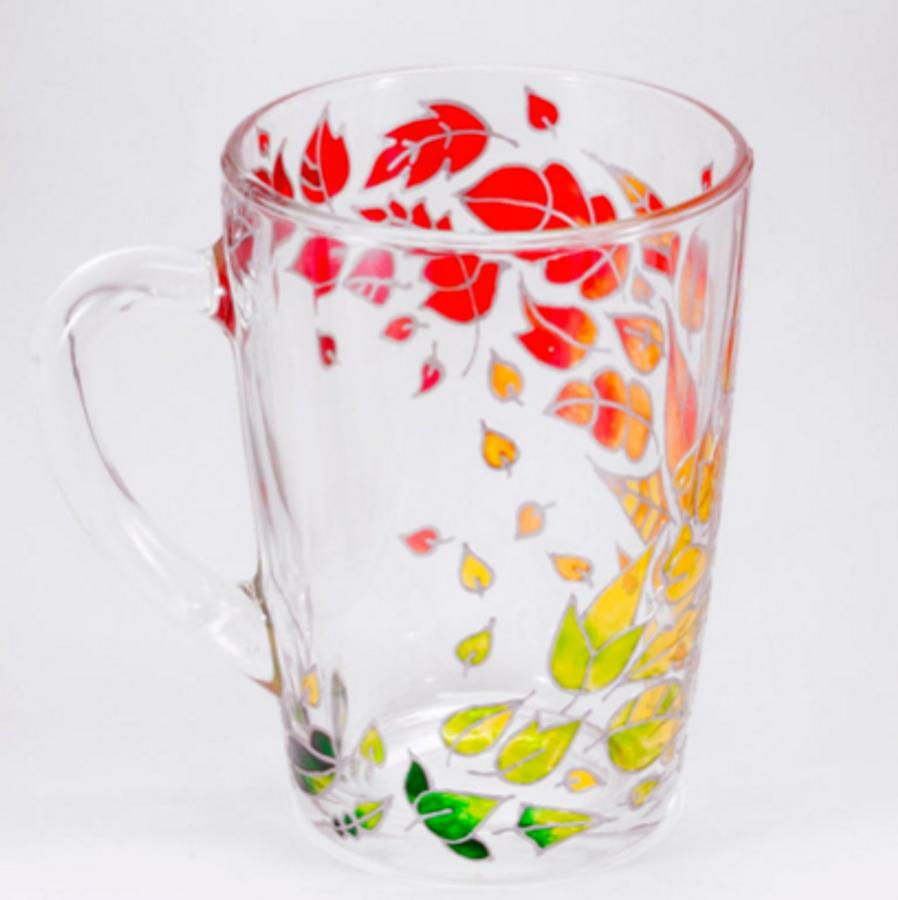 Handpainted Fall Leaves Glass Mug