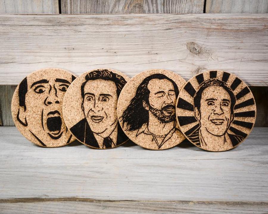 Nicolas Cage Cork Coasters (Set of 4)