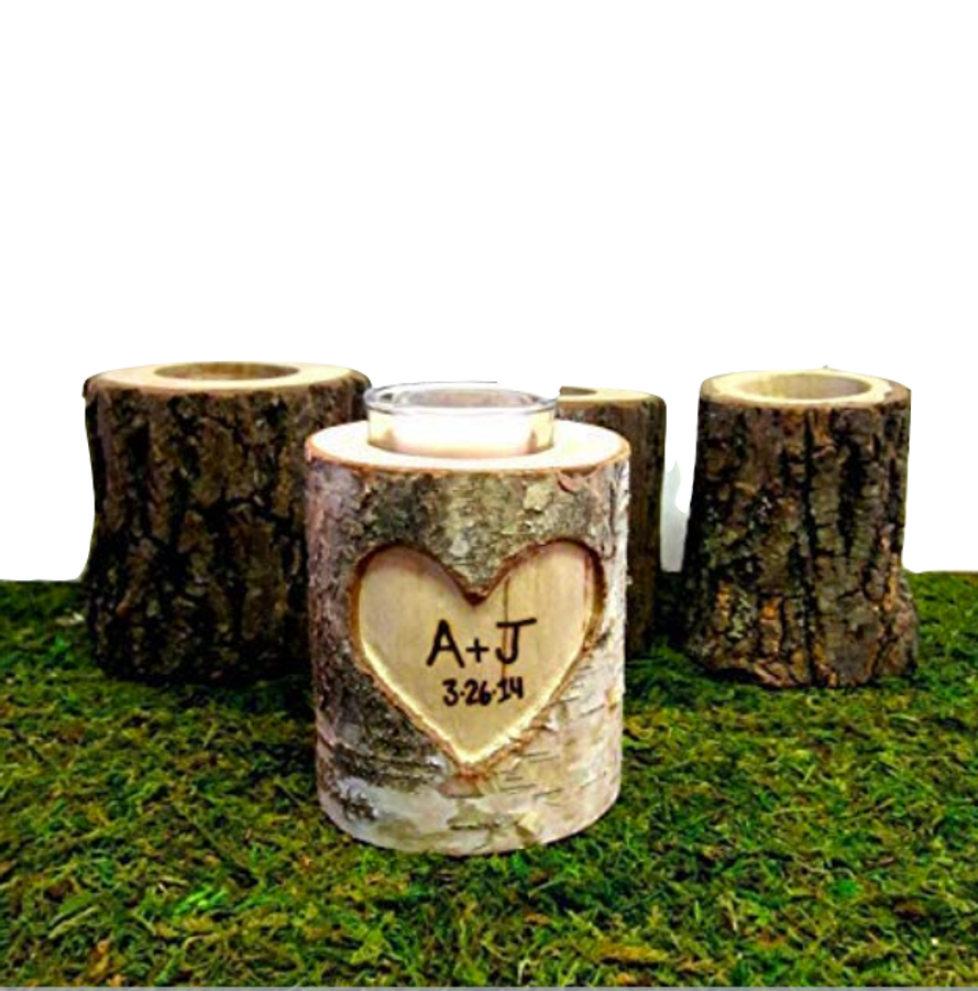Handcarved Wood Log Personalized Candle Holder