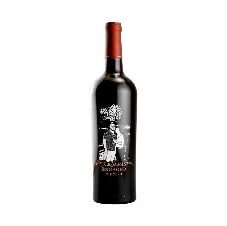 Etched Photo Red Wine Bottle