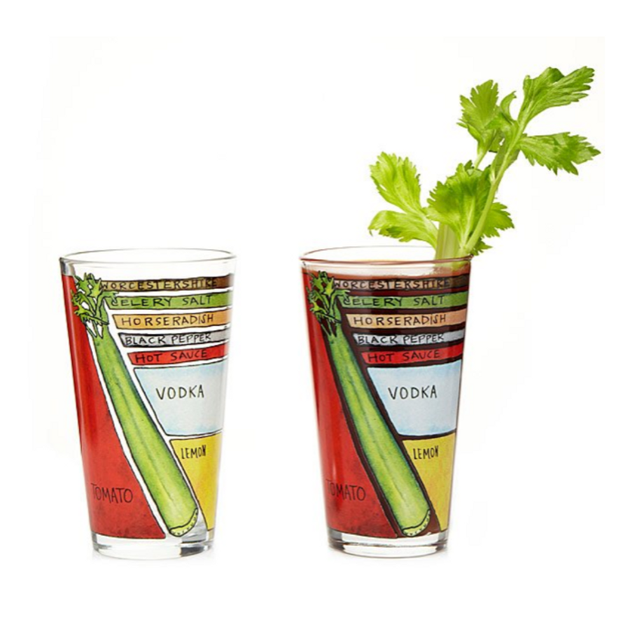 Bloody Mary Diagram Glassware (Set of 2)