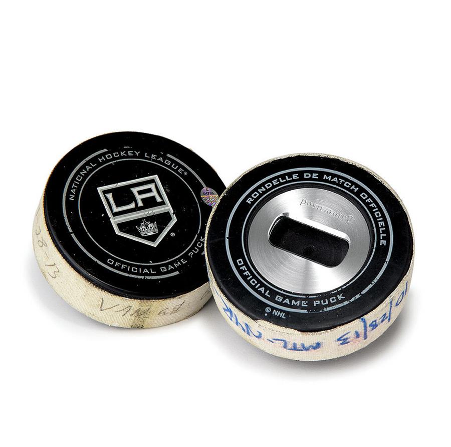 Game-Used Hockey Puck Bottle Opener