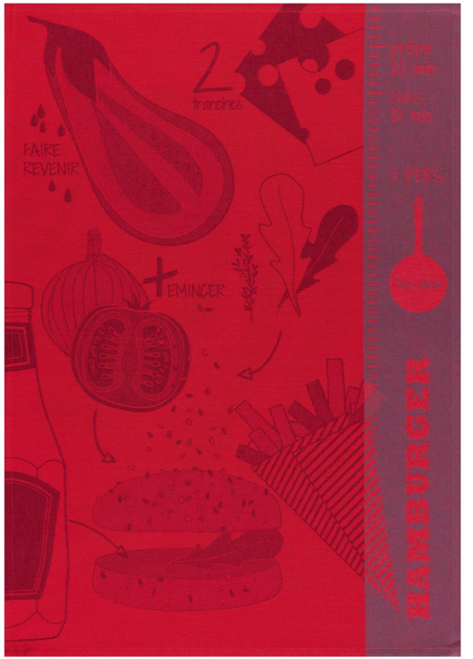 Hamburger Ketchup Red Kitchen Towel