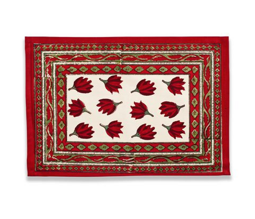 Crocus Red Green Placemats, Set of 6