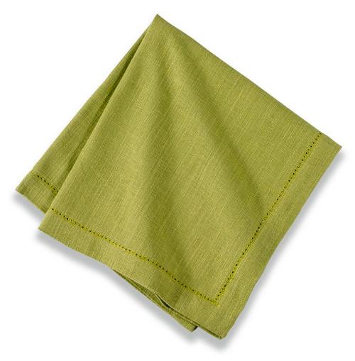 Cotton Hemstitch Napkin Kiwi Green, Set of 6