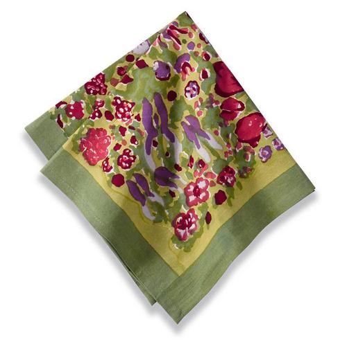 Jardin Green/Red Napkins, Set of 6