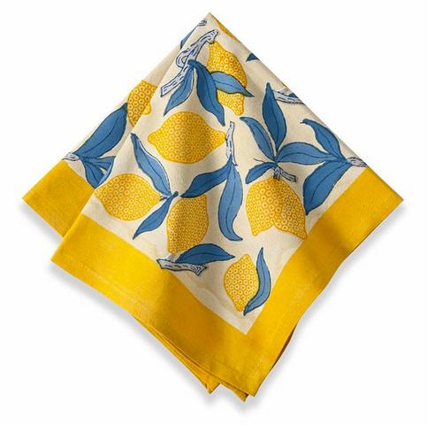 Lemon Tree Blue Yellow Napkins, Set of 6