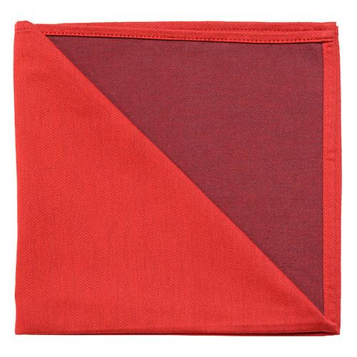 Bicolor Cotton Napkins Rouge/ Aubergine , Set of 6