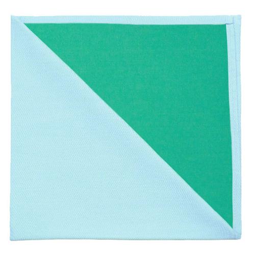 Bicolor Cotton Napkins Bleu / Vert, Set of 6