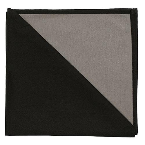 Bicolor Cotton Napkins Noir/Ecru, Set of 6