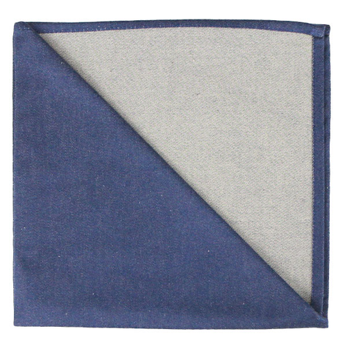 Bicolor Cotton Napkins Marine / Etoupe, Set of 6
