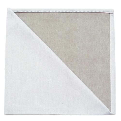 Bicolor Cotton Napkins Metis Blanc / Naturel  Set of 6