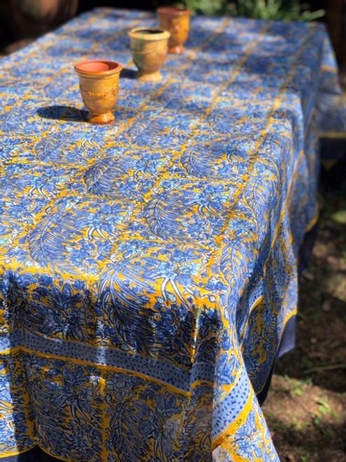 Bougainvillea Blue Yellow Organza Tablecloth