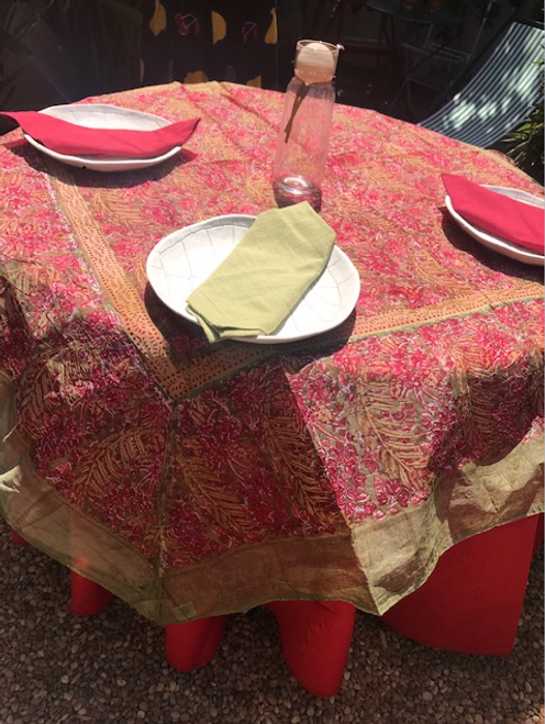 "PAIR OUR ORGANZA WITH 110""  GREEN OR RED ROUND PROVENCE TABLECLOTH"