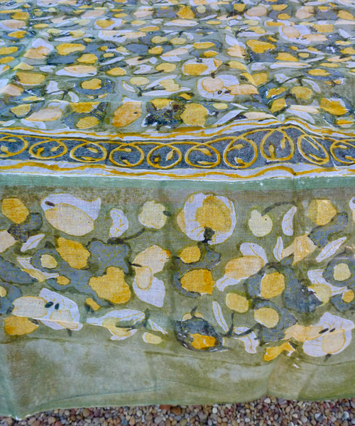 """Fruit Yellow Organza Square Tablecloth 71 x 71"""""""
