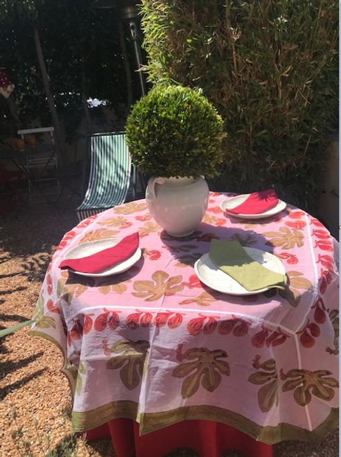 """PAIR OUR ORGANZA WITH 110"""" WHITE, GREEN OR RED ROUND PROVENCE TABLECLOTH"""