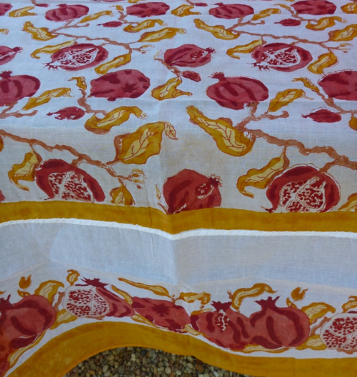 Pomegranate Yellow Organza Tablecloth