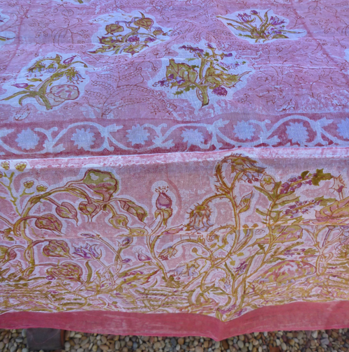 Petite Fleur Rose Organza Tablecloth