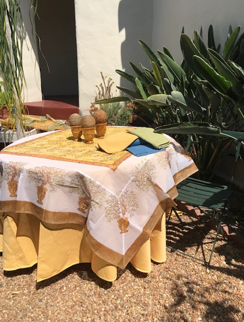 """Square organza on a round table, pair it with our 110"""" round white, yellow, green Provence tablecloth"""