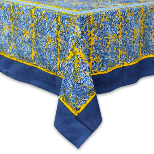 "71 x 142"" Bougainvillea Blue Tablecloth"