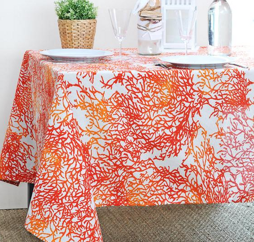 """Coral Caledonie Red Coated Tablecloth 59"""" x 98"""""""